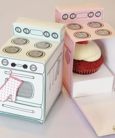 Claudine Hellmuth printable retro oven cupcake box- if I ever had a bakery I would want these for to-go boxes