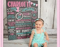 Pink and Teal First Birthday Chalkboard by PersonalizedChalk