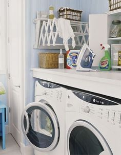 need a drying rack, fold up could work-- 20 Laundry Room Design with Small Space Solutions