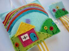 Items similar to Rainbow Cottage Hair Clip Organizer, Holder on Etsy