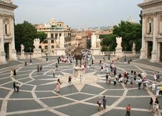 The concentric shapes in the Piazza del Campidoglio inspired the continuous designs of our Etched Terrazzo.