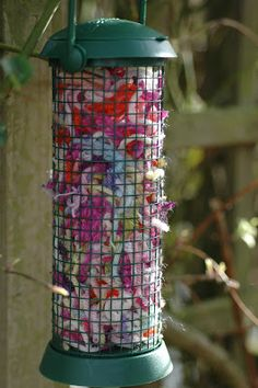 Put yarn scraps in a suet or peanut feeder for nesting materials for birds.
