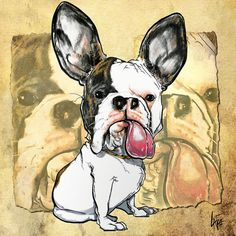 french bulldog -  Caricature Paintings and Illustrations by John LaFree