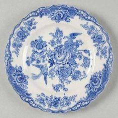 Crown Ducal Bristol Blue Salad Plate, Fine China Dinnerware Blue Flowers & Bir