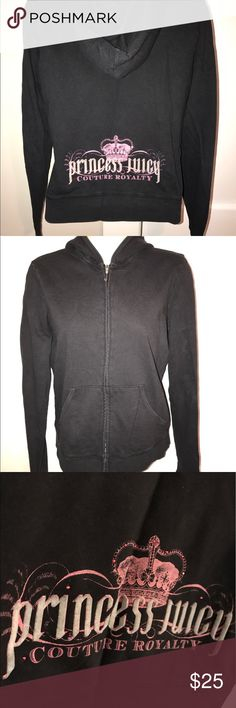 Juicy Zip Up Good condition, letters a kind of worn *as shown in picture* Juicy Couture Tops Sweatshirts & Hoodies
