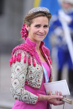 Infanta Elena of Spain attends the wedding of Crown princess Victoria of Sweden and Daniel Westling, June 2010.