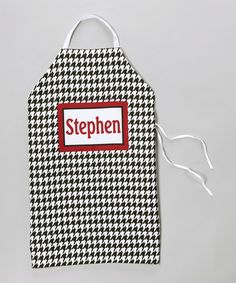 Take a look at this Black & White Houndstooth Personalized Apron by Tickled Pink NOLA on #zulily today!