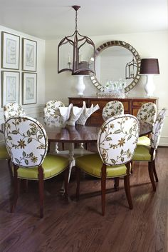 Tobi Fairley Dining Room - thanks for selecting Hickory Chair for your home!  Featured are the Boston Side Chairs from the Albert Sack Collection.