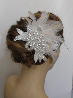 Feather Fascinator :  wedding black bridesmaids ceremony dress fascinator feather headpiece flowers hair clip hair flower ivory jewelry reception red vintage piece white Il Fullxfull.300825106.jpg