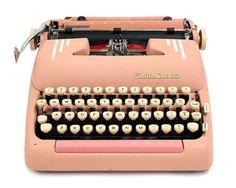 1955 Pink Smith Corona Silent Super Typewriter / Original Case / Vintage Metal Ribbon Spools