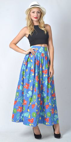 Vintage 70s Blue Maxi Skirt High Waist Floral by thekissingtree