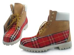 mens timbers burberry red