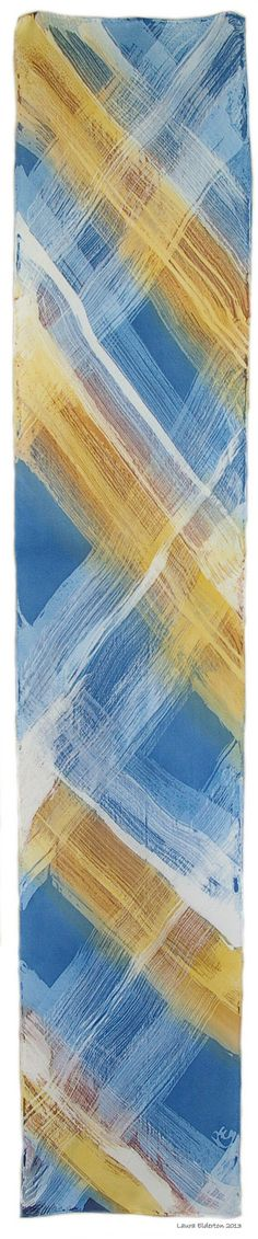 Hand Painted Silk Scarf - Blues and Golds Gauze Lines - Charmeuse Silk Scarf (approx.11x60 inches) by Laura Elderton