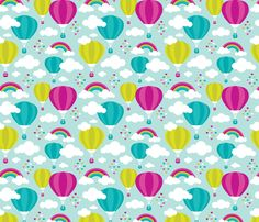 Hot air balloon and rainbows pattern by littlesmilemakers, click to purchase fabric