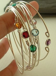 Birthstone bracelets ,stacking silver bangle bracelets, gemstone bangle, bracelet ,thin bracelet, Bridesmaids gift on Etsy, $15.00
