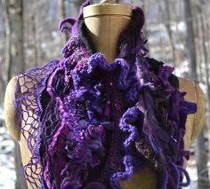 Cashmere Shaggy textured SCARF  Wrap with crochet by amberstudios, $65.00