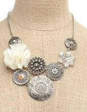 Floral Disk Cluster Necklace