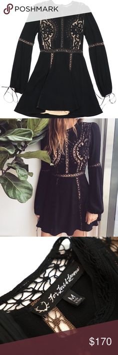 "For Love and Lemons Black Lace Long Sleeve Dress Gorgeous designer For Love and Lemons Dress. Size medium. Preowned but in excellent condition and very clean. Solid black fabric with a nude lining and lace inserts. Long sleeves and lovely details. Approximately 35"" long from shoulder to bottom hem. For Love And Lemons Dresses"