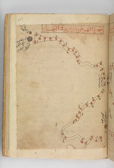 Eridanus, the river. (Constellations of the southern hemisphere). Kitab suwar al-kawakib al-thabita (Book of the Images of the Fixed Stars) of al-Sufi Author: `Abd al-Rahman al-Sufi  (903–86) Object Name: Illustrated manuscript Date: late 15th century Geography: Iran Culture: Islamic Medium: Ink and gold on paper; leather binding Dimensions: H. 10 3/16 in. (25.8 cm) W. 7 1/8 in. (18.1 cm)