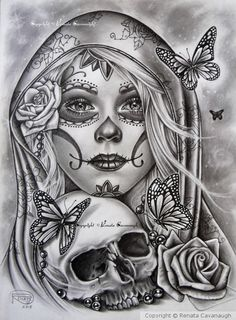 Día de los Muertos 2018 I started this back in October as a tattoo design Then got busy with Christmas commissions and totally forgot about it It took a little while to complete it but here it is at last I hope you like it and thank you for looking