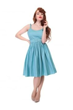 Collectif Vintage Jade Plain Swing Dress
