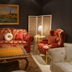 It's golden with ornate embellishments, upholstered in a beautiful silk: It's a baroque sofa. Or is it a Rococo style sofa? Both of these furniture styles Rococo Style, Furniture Styles, Baroque, Armchair, Sofa, How To Make, Home Decor, Womb Chair, Homemade Home Decor