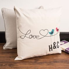Personalised Birds On A Wire Cushion | GettingPersonal.co.uk