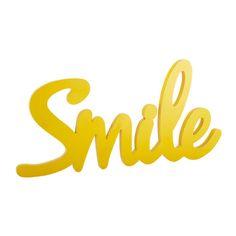 Wanddekoration SMILE aus Holz, B 93cm, gelb