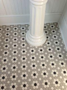 Ceramic Mosaic Hex Tile Photo of ceramic mosaic hex tile we installed in our main floor half bath.