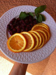 Naranja, frambuesa y menta