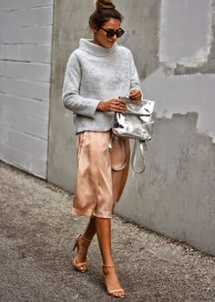 Gray sweater silver bag, bronze midi skirt. Street women fashion outfit clothing style apparel @roressclothes closet ideas