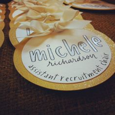 Gorgeous gold name tags