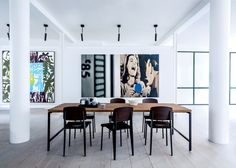 Un coin repas dans une galerie d'art - Marie Claire Maison