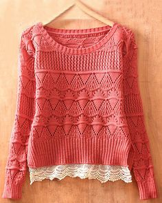 Pink Long Sleeve Geometric Eyelet Lace Hem Embellished Knit Sweater