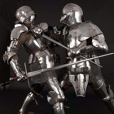 A demonstration of foot combat with hand and half sword.