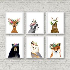 Woodland animals print set, Set of 6 Prints, racoon, owl, fox, deer, rabbit, bear, woodland nursery set, nursery print set