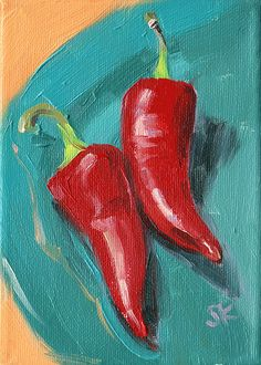 red peppers kitchen art oil painting giclee print от MadAboutHue