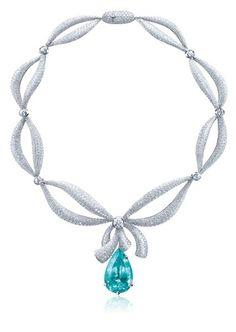 PT950 Paraiba Tourmaline with Diamond Necklace Paraiba Pary Time!