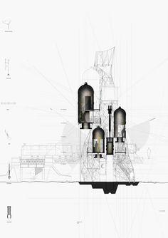 saraben academia: Class of 2010 - architektur Water Architecture, Architecture Collage, Architecture Graphics, Architecture Drawings, Architecture Portfolio, Concept Architecture, School Architecture, Architecture Details, House Architecture