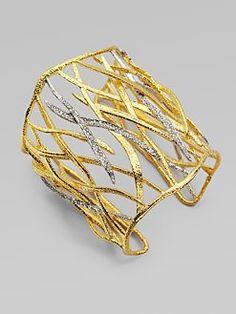 Alexis Bittar - Pavé Swarovski Crystal Accented Woven Leaf Cuff Bracelet  Beautiful!