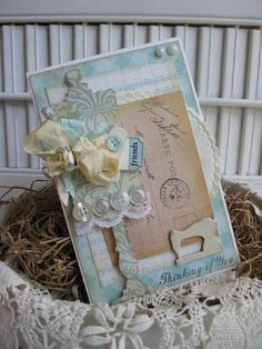 shabby chic mannequin dress form thinking of you friends ticket handmade card