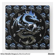 Silver Metallic Dragon Square Wall Clock Wall Clocks, Portal, Colorful Backgrounds, Party Supplies, Metallic, Dragon, Display, Artwork, Shop