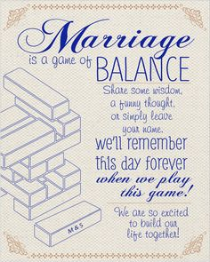 What a cute way to remember a special day. Have your guests sign a block to a Jenga game so when the couple plays the game they will remember the