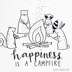 Campfire Happiness. Day 156 of yearlong sketchbook project. Cassie Loizeaux