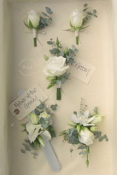 Corsage wedding - Classic White Rose and Eucalyptus Buttonholes & Corsages by Wedding & Events Floral Design www weddingandevents co uk North Yorkshire Wedding Flowers Winter Boutonniere, Boutonnieres, White Rose Boutonniere, Wedding Boutonniere, Wrist Corsage Wedding, Wedding Buttonholes, Wedding Coursage, Gypsophila Wedding Bouquet, Wedding Inspiration