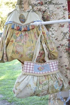 Shabby French Home  March show   Vintage fabric hand bag