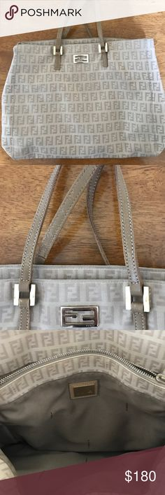 "😍Fendi handbag Beautiful authentic  Fendi signature beige canvas handbag .Really good preowned condition . Clean inside and out . Has a bit of wear on strap and a bit on inner zipper . 3 compartments . Approx 12"" x 9.5 with 2.8 drop and 13. 4 "" strap . Purchased from another seller and because I have 3 small children it's been sitting in my closet and I still haven't used it 😕 Fendi Bags Satchels"