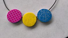 Reversible polymer clay necklace. Back.