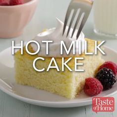 Hot Milk Cake Recipe Recipes and yummy cake tips Easy Desserts, Delicious Desserts, Dessert Recipes, Yummy Food, Easy Cake Recipes, Healthy Food, Hot Milk Cake, Cake Tasting, Love Food