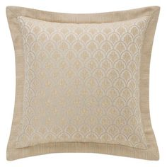 Bring luxurious elegance into your sleep space with this eye-catching Abrielle Square Throw Pillow from Waterford. Boasting ivory and champagne hues, the pillow has an intricate woven scallop design with a wide woven stripe flange.